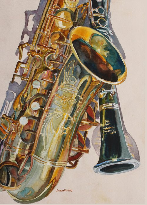 Saxophone Greeting Card featuring the painting Taking A Shine To Each Other by Jenny Armitage
