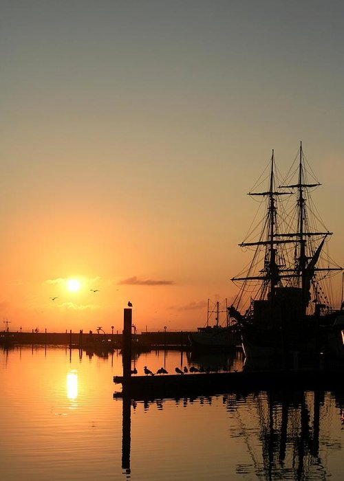 Ship Greeting Card featuring the photograph Tall Ship Lady Washington At Dawn by Mike Coverdale