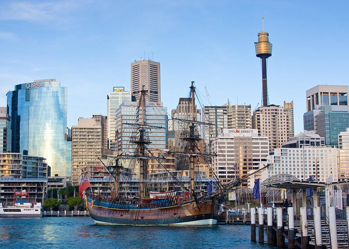 Sydney Greeting Card featuring the photograph Tall Ships - Sydney Harbor by Charles Warren
