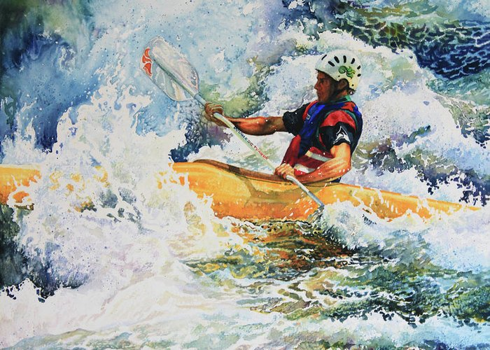 Sports Art Print Greeting Card featuring the painting Taming Of The Chute by Hanne Lore Koehler
