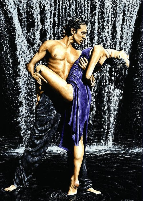 Tango Greeting Card featuring the painting Tango Cascade by Richard Young