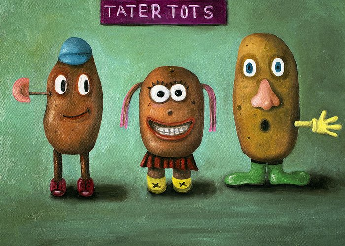 Mr. Potato Head Greeting Card featuring the painting Tater Tots by Leah Saulnier The Painting Maniac