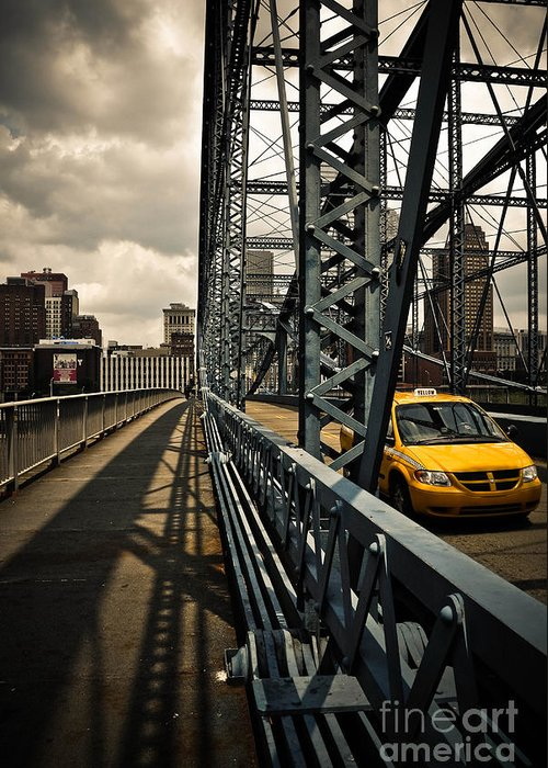 Allegheny County Greeting Card featuring the photograph Taxi Crossing Smithfield Street Bridge Pittsburgh Pennsylvania by Amy Cicconi