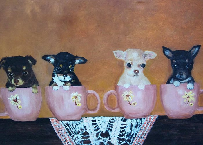 Dog Greeting Card featuring the painting Tea Cup Chihuahuas by Aleta Parks