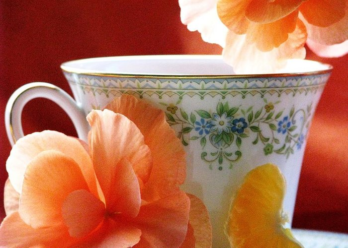 Tea Cups Greeting Card featuring the photograph Tea In The Garden by Angela Davies