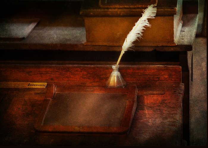Hdr Greeting Card featuring the photograph Teacher - The Writing Desk by Mike Savad