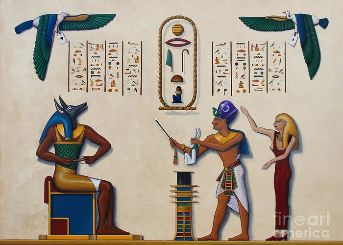 Egypt Greeting Card featuring the painting Teaching An Old God New Tricks by Richard Deurer