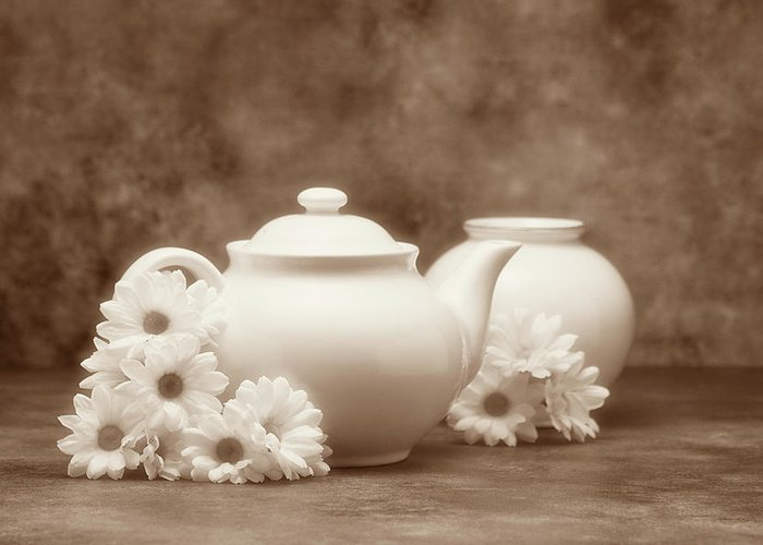 Daisies Greeting Card featuring the photograph Teapot With Daisies I by Tom Mc Nemar
