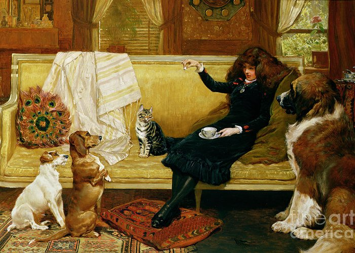 Teatime Greeting Card featuring the painting Teatime Treat by John Charlton
