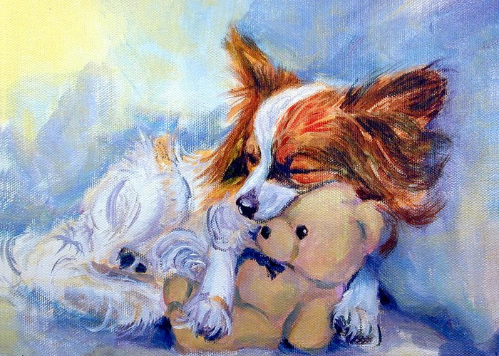 Papillon Dog Greeting Card featuring the painting Teddy Hugs - Papillon Dog by Lyn Cook