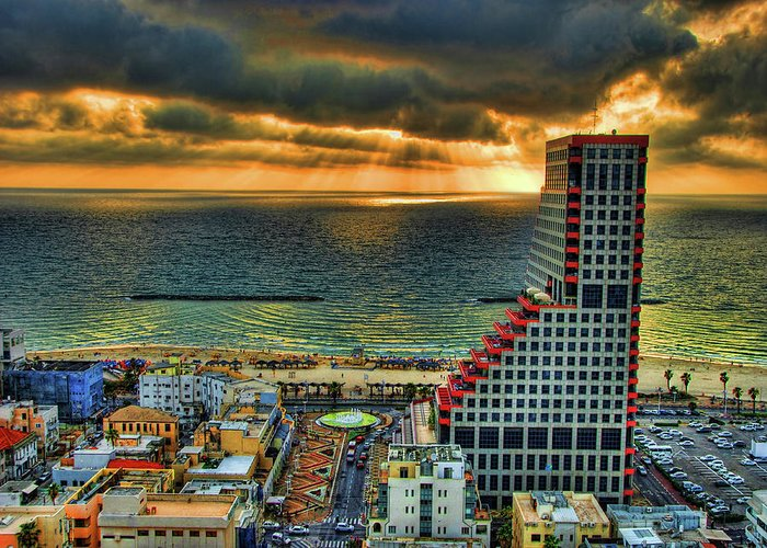 Israel Greeting Card featuring the photograph Tel Aviv Lego by Ron Shoshani