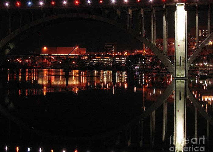 Tennessee Greeting Card featuring the photograph Tennessee River In Lights by Douglas Stucky
