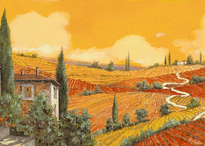 Tuscany Greeting Card featuring the painting terra di Siena by Guido Borelli