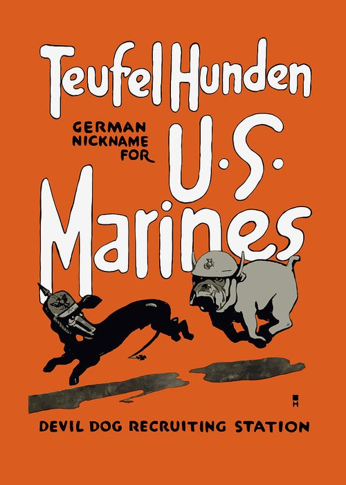 Marine Corps Greeting Card featuring the painting Teufel Hunden - German Nickname For Us Marines by War Is Hell Store