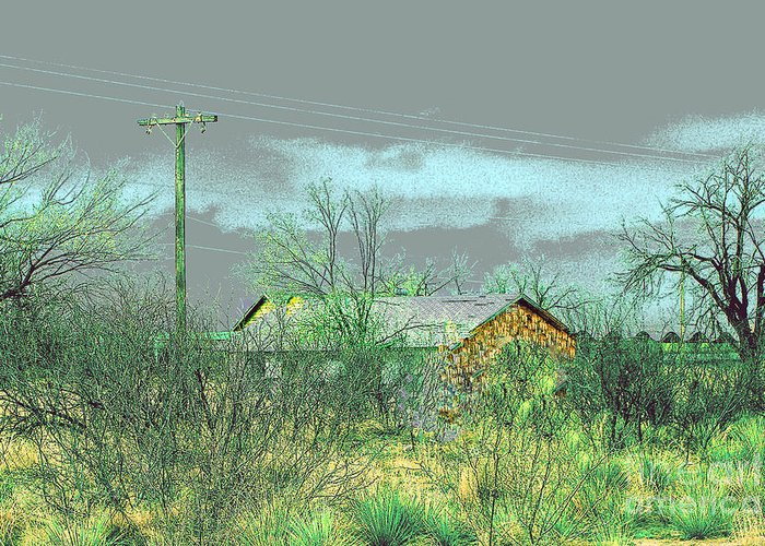 Landscape Greeting Card featuring the photograph Texas Farm House - Digital Painting by Merton Allen