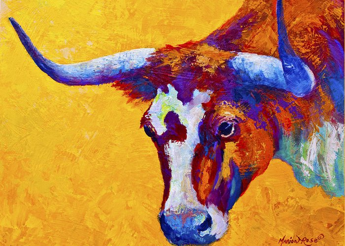Longhorn Greeting Card featuring the painting Texas Longhorn Cow Study by Marion Rose