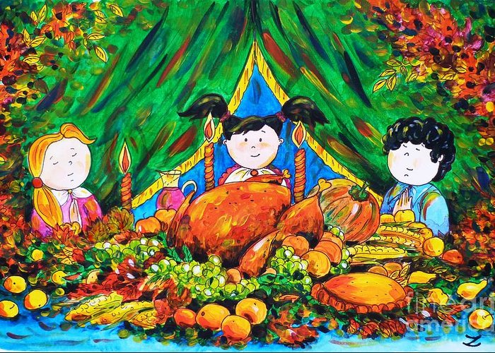 Thanksgiving Day Greeting Card featuring the painting Thanksgiving Day by Zaira Dzhaubaeva