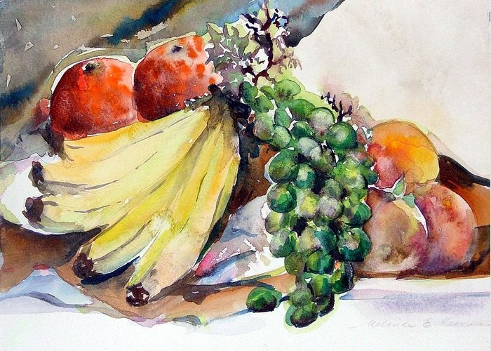 Fruit Greeting Card featuring the painting Thanksgiving by Mindy Newman