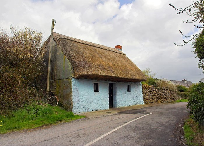 Thatch Roof Greeting Card featuring the photograph Thatch Roof Cottage Galway by Pierre Leclerc Photography
