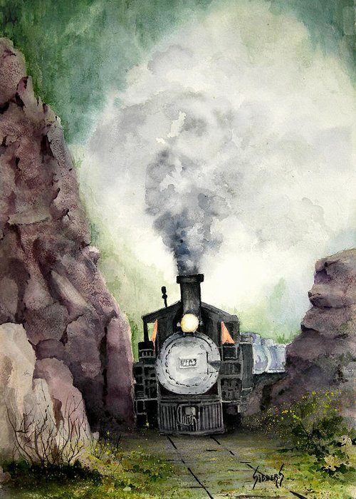 Train Greeting Card featuring the painting The 413 by Sam Sidders