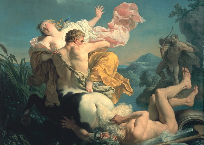 The Greeting Card featuring the painting The Abduction Of Deianeira By The Centaur Nessus by Louis Jean Francois Lagrenee
