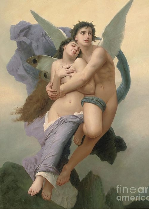 William-adolphe Bouguereau Greeting Card featuring the painting The Abduction Of Psyche by William-Adolphe Bouguereau
