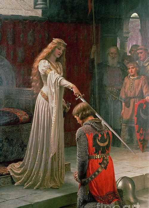 The Greeting Card featuring the painting The Accolade by Edmund Blair Leighton