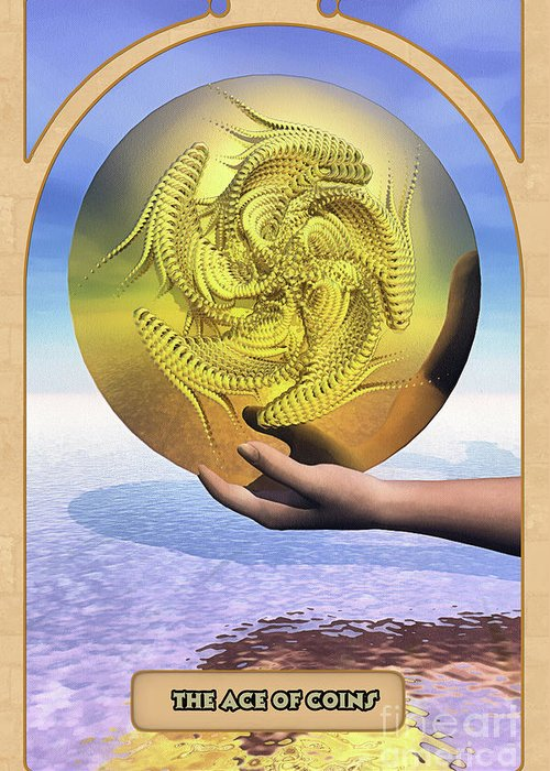 Magic Greeting Card featuring the digital art The Ace Of Coins by John Edwards