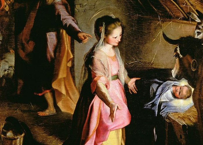 Nativity Greeting Card featuring the painting The Adoration Of The Child by Federico Fiori Barocci or Baroccio