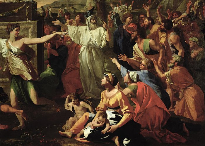 The Greeting Card featuring the painting The Adoration Of The Golden Calf by Nicolas Poussin