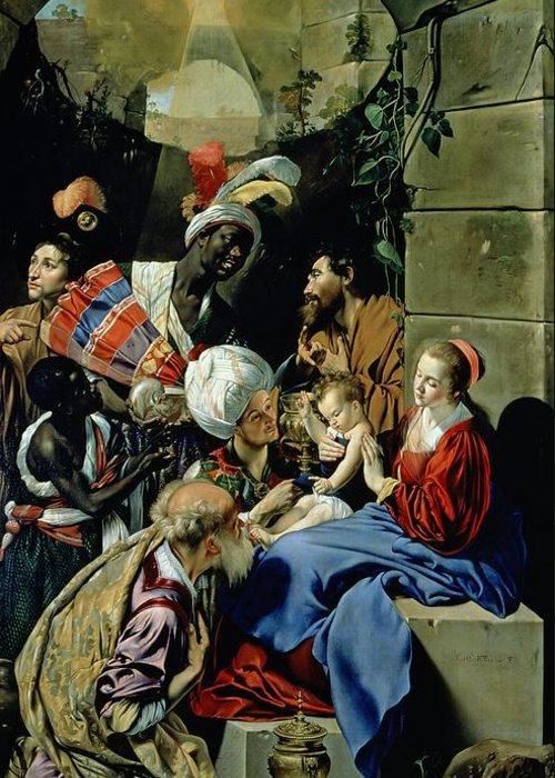 Fray Juan Batista Maino Greeting Card featuring the painting The Adoration Of The Kings by Fray Juan Batista Maino