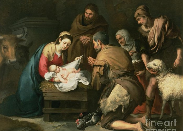 Adoration Greeting Card featuring the painting The Adoration Of The Shepherds by Bartolome Esteban Murillo