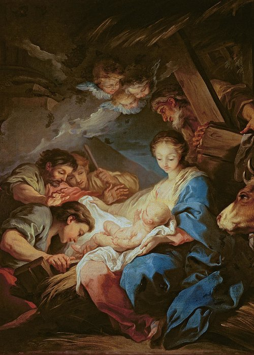 Light; Cherubs; Nativity Greeting Card featuring the painting The Adoration Of The Shepherds by Charle van Loo