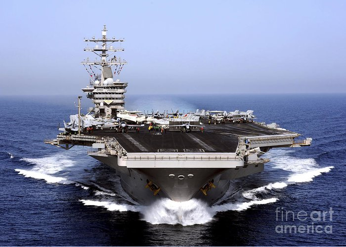 Flight Deck Greeting Card featuring the photograph The Aircraft Carrier Uss Dwight D by Stocktrek Images