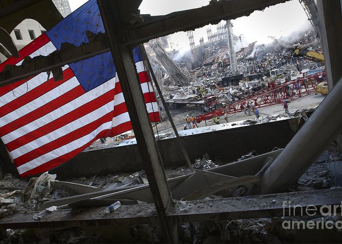 Firefighter Greeting Card featuring the photograph The American Flag Is Prominent Amongst by Stocktrek Images