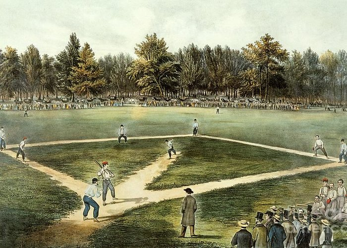 The Greeting Card featuring the painting The American National Game Of Baseball Grand Match At Elysian Fields by Currier and Ives