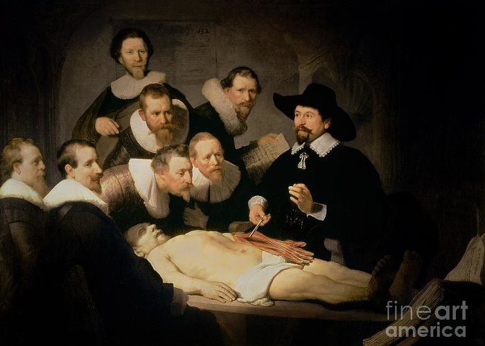 The Greeting Card featuring the painting The Anatomy Lesson Of Doctor Nicolaes Tulp by Rembrandt Harmenszoon van Rijn