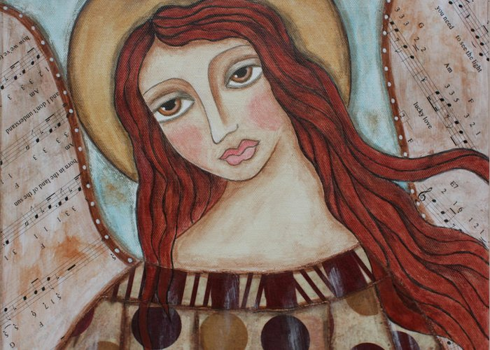 Greeting Card featuring the painting The Angel Of Hope by Rain Ririn