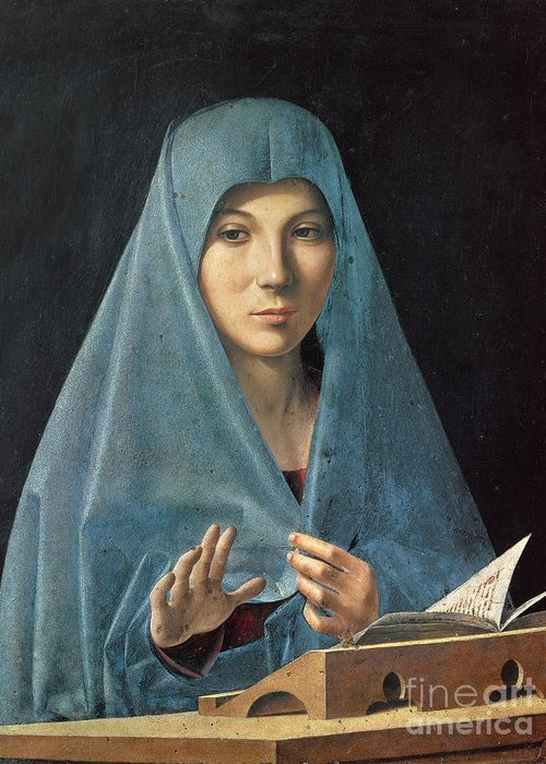 The Greeting Card featuring the painting The Annunciation by Antonello da Messina