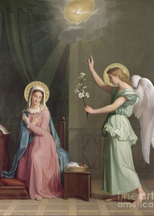 The Greeting Card featuring the painting The Annunciation by Auguste Pichon