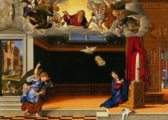 Mary Greeting Card featuring the painting The Annunnciation by Girolamo da Santacroce