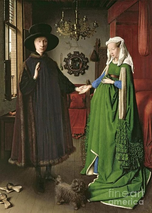 The Greeting Card featuring the painting The Arnolfini Marriage by Jan van Eyck