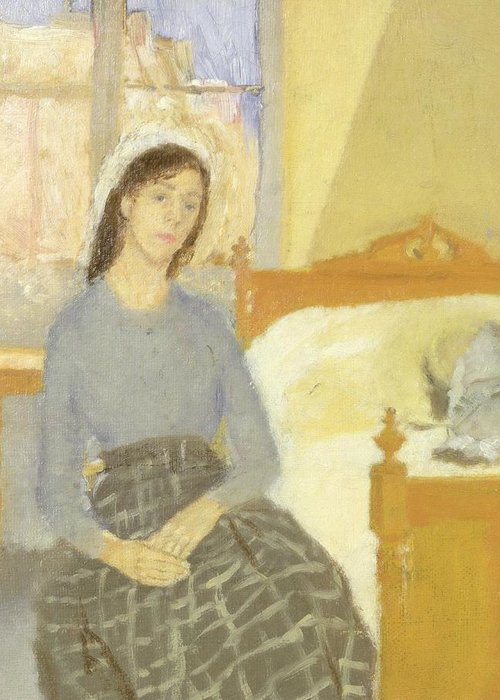 Greeting Card featuring the painting The Artist In Her Room In Paris by Gwen John