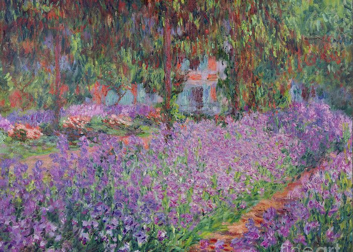 The Greeting Card featuring the painting The Artists Garden At Giverny by Claude Monet