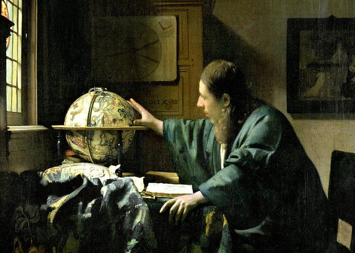 The Greeting Card featuring the painting The Astronomer by Jan Vermeer