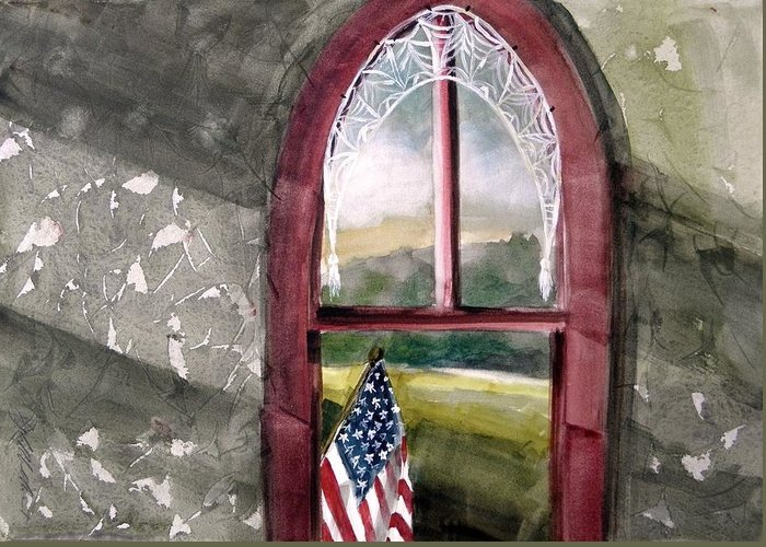 Flag Greeting Card featuring the painting The Attic Window by John Williams