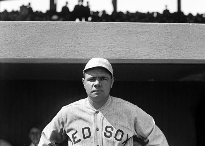 babe Ruth Greeting Card featuring the photograph The Babe - Red Sox by International Images