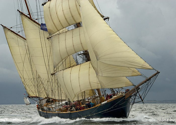 The Tall Ship (barkentine) 'loa' In The 2012 Tall Ships Race On The Limfjord In Jutland Greeting Card featuring the photograph The Barkentine Loa by Robert Lacy