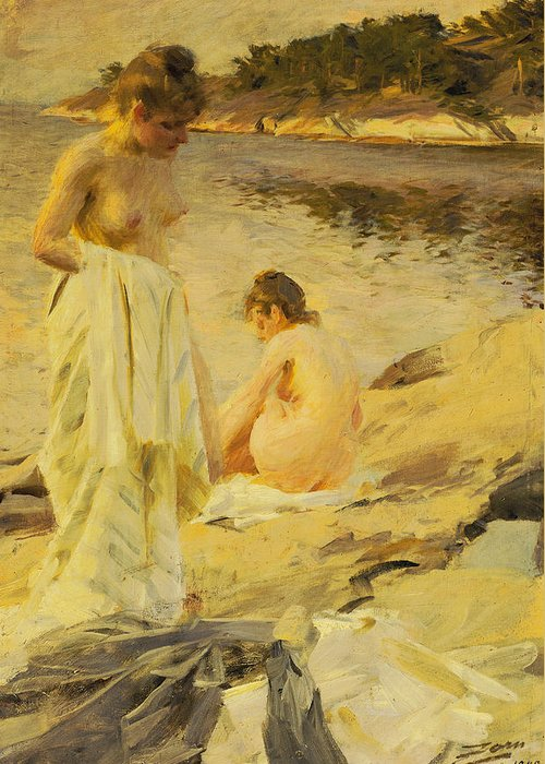 Nude Greeting Card featuring the painting The Bathers by Anders Leonard Zorn