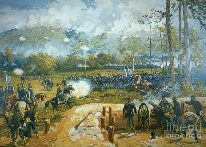 The Battle Of Kenesaw Mountain Greeting Card featuring the painting The Battle Of Kenesaw Mountain by American School
